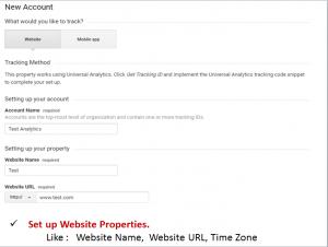 set up of google analytics